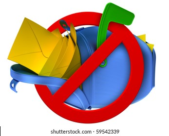 No spam concept. Overflowing blue mailbox with yellow mails.