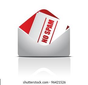 no spam envelope illustration design over white background