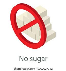 No sugar icon. Isometric illustration of no sugar icon for web