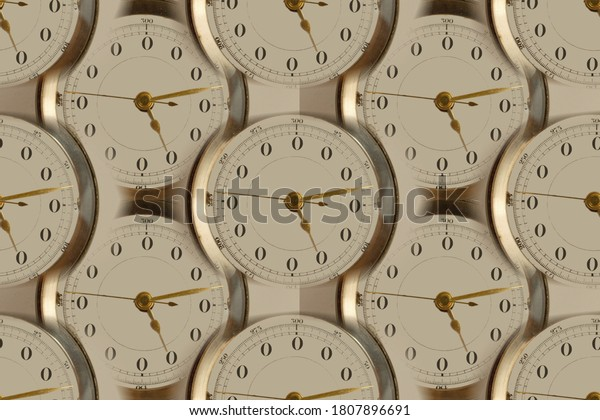 No time clock faces abstract background