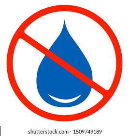No water resistant, no waterproof or do not drink with drop warning signs flat symbols prohibition icon illustration isolated on white background.Forbidden circle red road ban or stop,