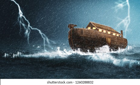 Noah's Ark 3D during a rain and lightning storm.