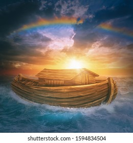 Noah's Ark 3d under a rainbow after the great flood on the sea during a dramatic sunset