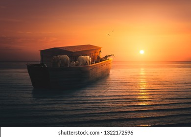 Noah's Ark filled with animals sailing into the sun / mixed media, 3D illustration