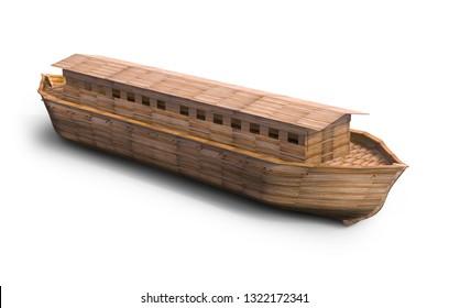 Noah's ark, isolated on white. 3D illustration, rendering