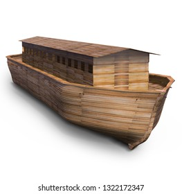 Noah's ark, isolated on white. 3D illustration, rendering