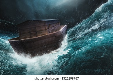 Noah's Ark in the middle of a storm. / 3D rendering, mixed media