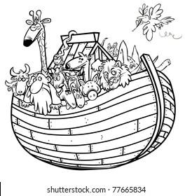 Noahs Ark Outline Cartoon