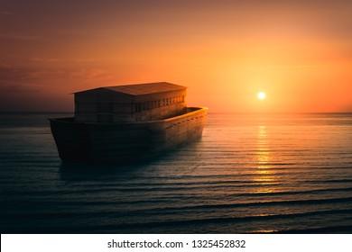 Noah's Ark sailing into the sun / mixed media, 3D illustration