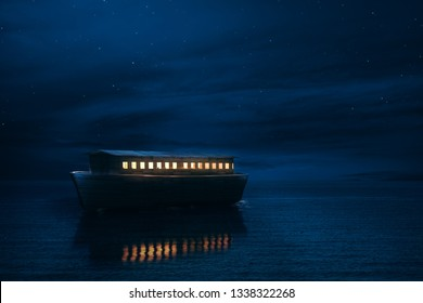 Noah's Ark sailing at night. / 3D rendering, mixed media