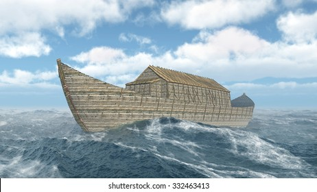 Noah's Ark in the stormy ocean Computer generated 3D illustration
