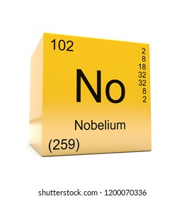 Nobelium chemical element symbol from the periodic table displayed on glossy yellow cube 3D render