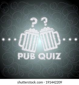 noble pub quiz symbol on ornament background with light stars
