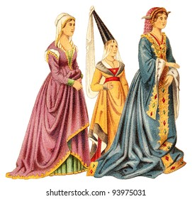 Noblewomans (Late Middle Ages) / vintage illustration from Meyers Konversations-Lexikon 1897