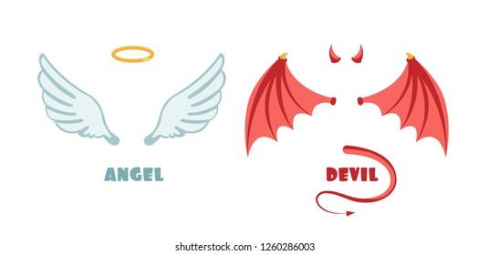 Nobody angel and devil suit. Innocent and mischief symbols