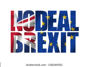 Nodeal / Brexit typo showing flags of the european union EU and great britain GB
