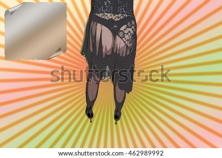 9e6a1cab38d Noise Grain Desired Drawing Sexy Pin Up Stock Illustration - Royalty ...
