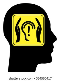 Noise at Work. Health and safety sign to be aware of health hazards through noise pollution