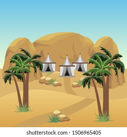 Nomad camp in desert. Landscape for cartoon or adventure game asset. Bedouins tents,  sand dunes, palms, rocks.