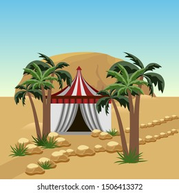 Nomad tent in desert - landscape for cartoon or game asset. Sand dunes, Bedouin tent, palms, rocks.