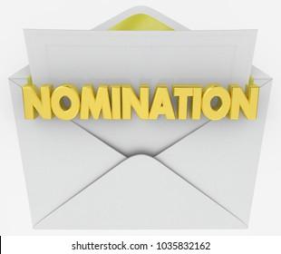 Nomination Envelope Award Finalist Announcement 3d Illustration