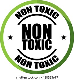 Non Toxic green, Button, label and sign.