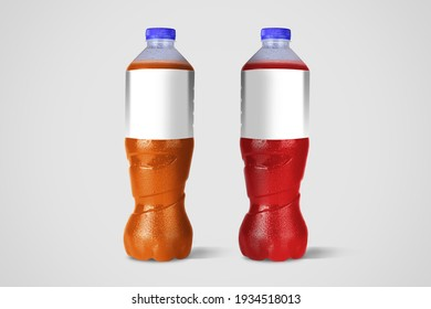 Non-alcoholic beverage bottles isolated on white background. 3D Rendering. fit for your element design.