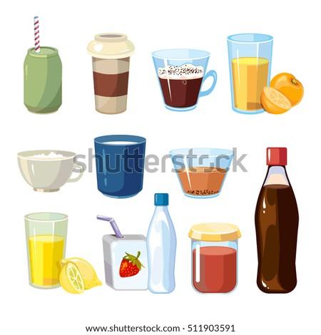 nonalcoholic beverages set cartoon style beverage stock illustration