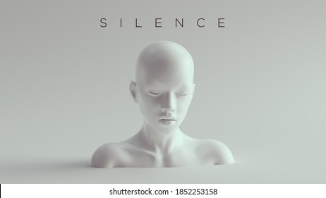 Non-Binary Silent Calm Female Male White Bust Head Back and Shoulders Front View 3d illustration