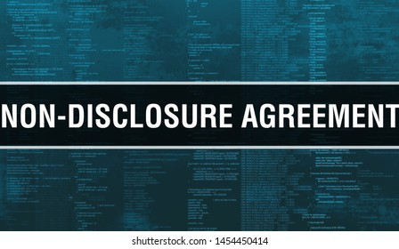 Non-disclosure agreement with Digital java code text. Non-disclosure agreement and Computer software coding vector concept. Programming coding script java, digital program code with Non-disclosure
