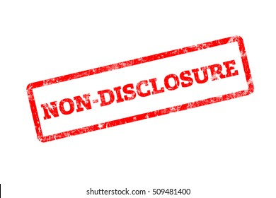 NON-DISCLOSURE word written on red rubber stamp with grunge edges.