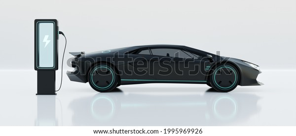 Non-existent brand-less generic concept black sport electric car with charging station on white background. Automobile futuristic technology concept . 3D illustration rendering