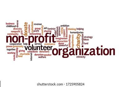 Non-profit organization word cloud concept on white background