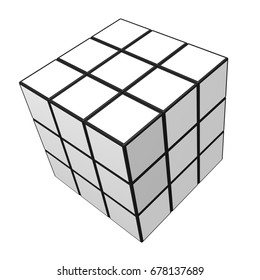 Nonthaburi, Thailand - July 16, 2017: White Rubik's cube isolated on a white background / 3D illustration.