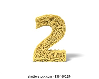 noodle in shape of number 2. curly spaghetti for cooking. suitable for cooking, noodle and spaghetti themes. 3d illustration