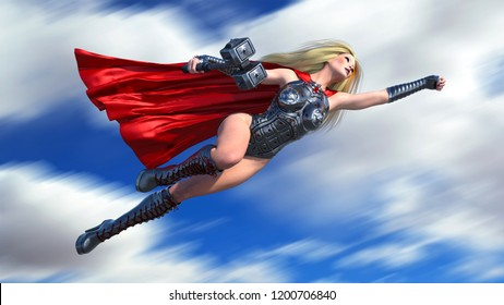 Nordic heroine woman with hammer flying over, Norse mythology superhero girl, ancient warrior princess, 3D rendering