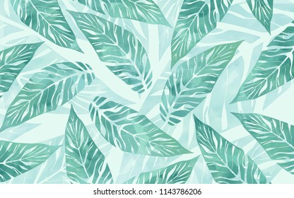 Nordic ins wind leaf pattern background illustration