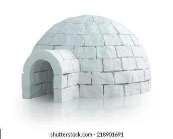 Paisaje nórdico con iglú