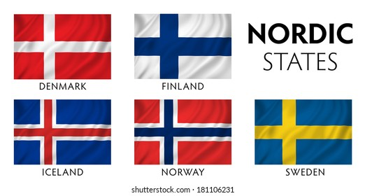 Nordic Scandinavian counties state flags.