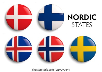 Nordic Scandinavian countries state flags.