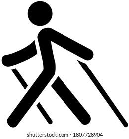 Nordic walking black icon on white background