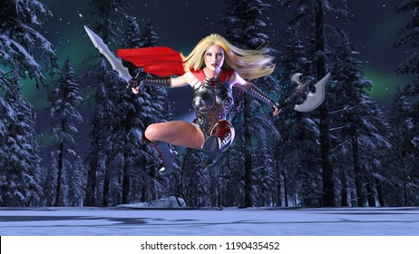 Nordic warrior princess in jump, Norse mythology superhero girl in winter forest, ancient heroine woman with sword and axe, 3D rendering