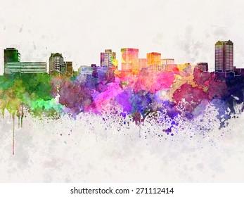 Norfolk skyline in watercolor background