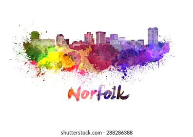 Norfolk skyline in watercolor splatters with clipping path