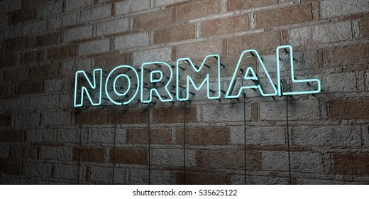 NORMAL - Glowing Neon Sign on stonework wall - 3D rendered royalty free stock illustration.  Can be used for online banner ads and direct mailers.