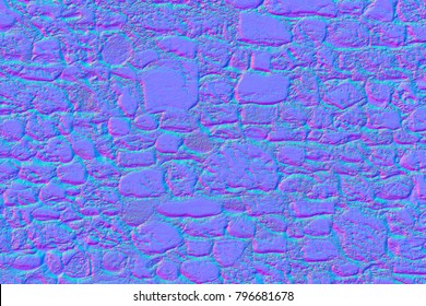 Normal map of a wall of stones and stones