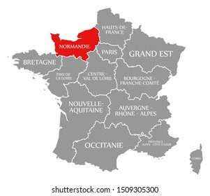 Normandie red highlighted in map of France