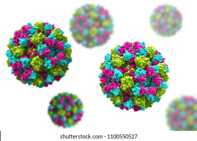 Norovirus, winter vomiting bug, RNA virus from Caliciviridae family, causative agent of gastroenteritis characterized by diarrhea, vomiting, stomach pain. 3D illustration