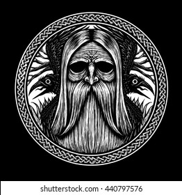 Norse God Odin with crows and old tree. Graphic illustration on black background