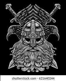 Norse God Odin with crows and swords. Viking Warrior engraving style illustration on the black background t-shirt design logo symbol